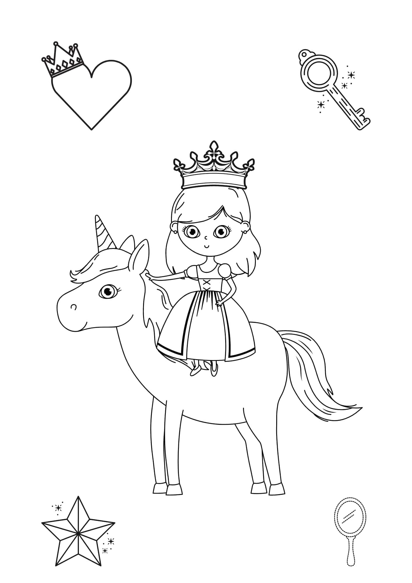 Einhorn mit Prinzessin